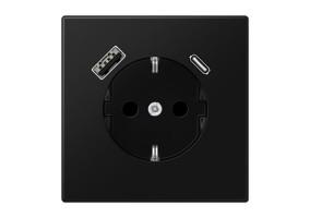 Kištukinis lizdas be rėmelio su USB LS1520-15CASWM juodas mat.