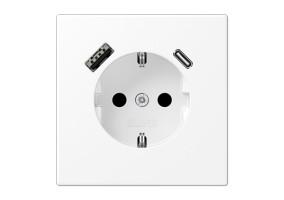 Kištukinis lizdas be rėmelio su USB LS1520-15CAWWM baltas mat.