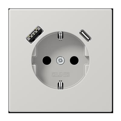 Kištukinis lizdas be rėmelio su USB LS1520-15CALG pilkas