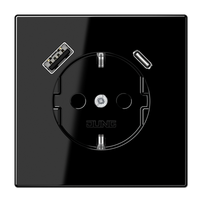 Kištukinis lizdas be rėmelio su USB LS1520-15CASW juodas
