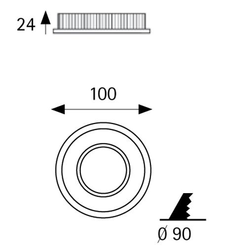 Įleidžiamas šviestuvas CONFORT II WHITE 8W 3000K IP44