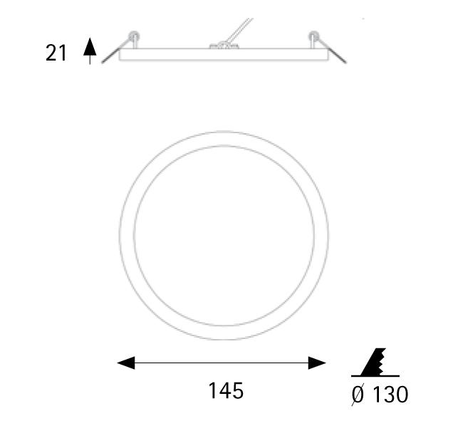 Įleidžiamas šviestuvas NARROW WHITE 12W 3000K IP43