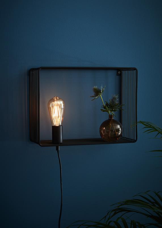 Sieninis šviestuvas SHELF BLACK