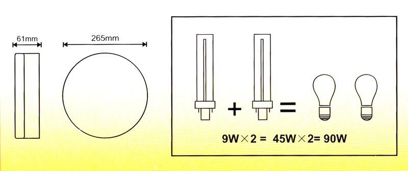 Lubinis/sieninis šviestuvas 2x9W