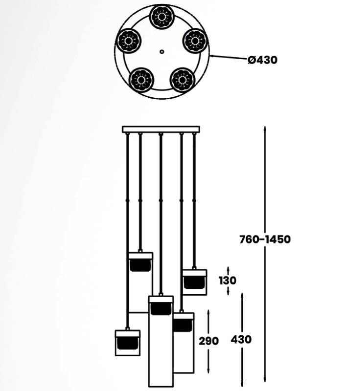 Pakabinamas šviestuvas GEM 5 chrome